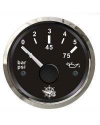 Indicateur de pression de l'huile 0-5 bar GUARDIAN 240-33 Ohms cadran noir, lunette argentée