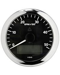 Compte-tours avec horamètre + voltmètre + compte heures VDO ViewLine 5000 RPM - 12/24V - noir-noir