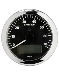 Compte-tours avec horamètre + voltmètre + compte heures VDO ViewLine 7000 RPM - 12/24V - noir-noir