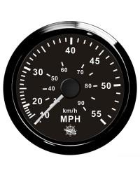 Speedomètre pour tube de Pitot 0-65 Mph GUARDIAN cadran noir, lunette noire