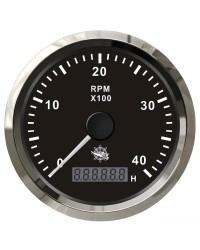 Compte-tours électronique 4000 RPM GUARDIAN cadran noir, lunette argentée
