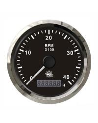 Compte-tours électronique + compte-heures 8000 RPM GUARDIAN cadran noir, lunette argentée