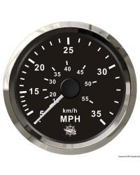 Speedomètre pour tube de Pitot 0-35 Mph GUARDIAN cadran noir, lunette argentée