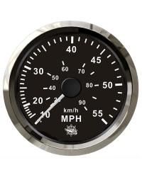 Speedomètre pour tube de Pitot 0-55 Mph GUARDIAN cadran noir, lunette argentée