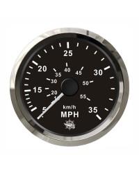 Speedomètre pour tube de Pitot 0-65 Mph GUARDIAN cadran noir, lunette argentée
