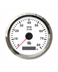 Compte-tours Guardian 4000 RPM cadran blanc, lunette argentée