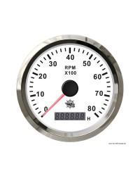 Compte-tours électronique + compte-heures 6000 RPM GUARDIAN cadran blanc, lunette argentée
