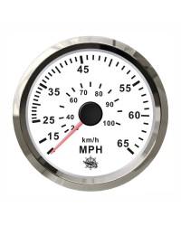 Speedomètre pour tube de Pitot 0-35 Mph GUARDIAN cadran blanc, lunette argentée