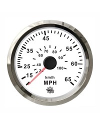 Speedomètre pour tube de Pitot 0-55 Mph GUARDIAN cadran blanc, lunette argentée