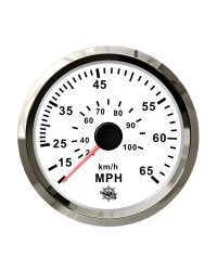 Speedomètre pour tube de Pitot 0-65 Mph GUARDIAN cadran blanc, lunette argentée