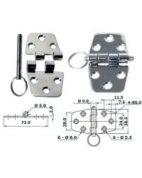 Charnière inox 55x37mm nœud saillant