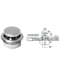 Déclic à bouton laiton chromé pour trappe jusqu'a 23mm