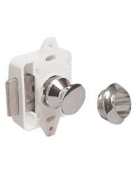Déclic à bouton laiton chromé pour trappe jusqu'à 19mm