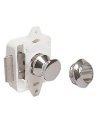 Déclic à bouton laiton poli pour trappe jusqu'a 23mm